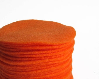 "30 pcs, 3"" Hand cut Fabric Circles - Orange Felt"