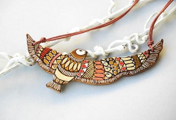 Spirit of Freedom Art Pendant Hand Painted Bird Necklace on Wood