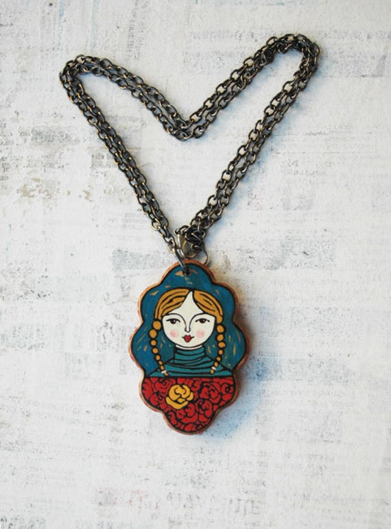Hand Painted Girl on Walnut Wood Wearable Art Pendant OOAK