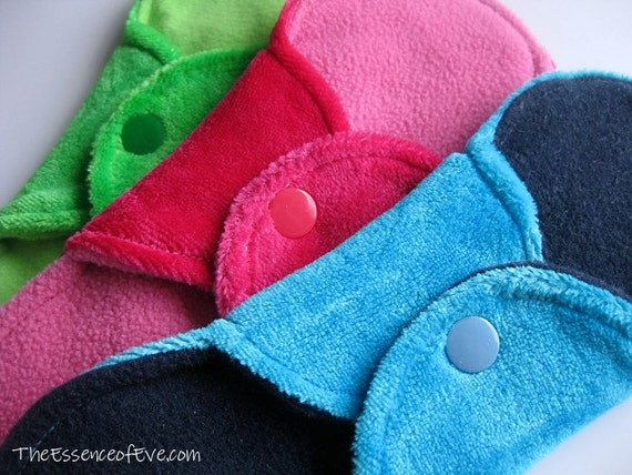 "Bamboo Velour Cloth Menstrual Pads - SET OF THREE 7"" Mini - Moderate Flow"