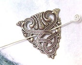 Silver Celtic Shawl Pin, Celtic Scarf Pin, Celtic Hair slide, mothers day, hammered, spring fashion, silver shawl pin, matte silver