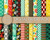 24 Pack Digital Paper - Red Green Yellow Black - Damask Floral Geometric - 300 DPI - 24097