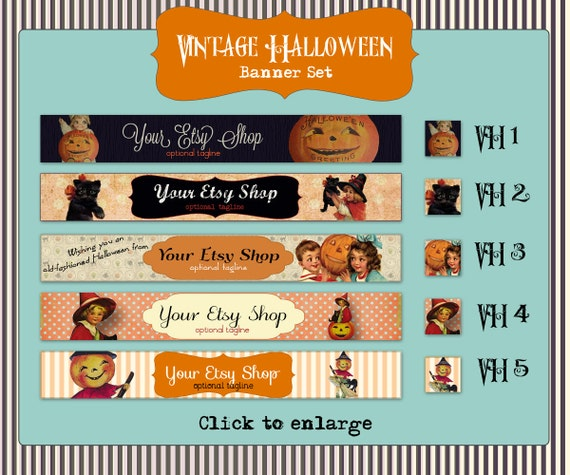 Etsy Shop Halloween Banner Set - Vintage Designs- Your Choice from 5 Pre-made Designs