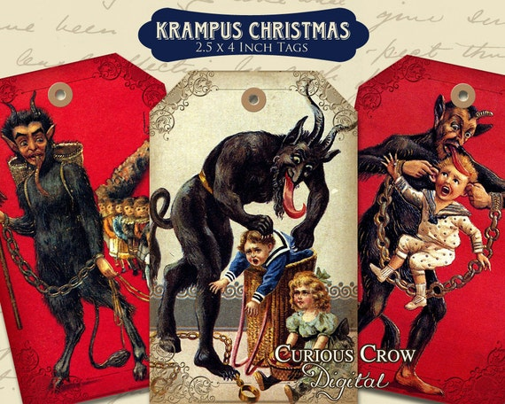 Krampus Christmas Gift Tags Digital Collage Sheet  2.5 x 4 Inches -  INSTANT Printable Download