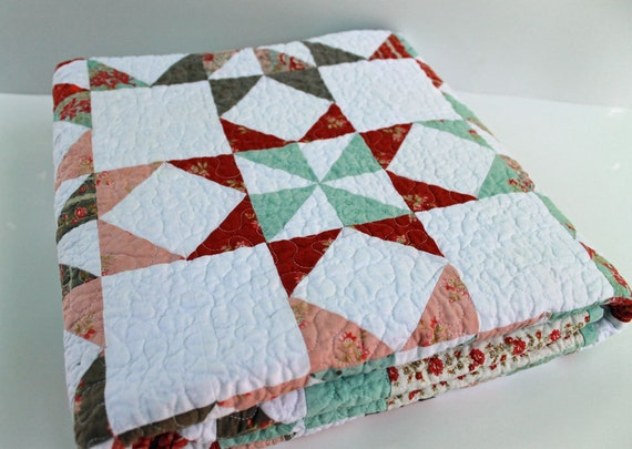 Reserved for Sara   Stars and Pinwheel Lap Quilt,Patchwork Quilt, Martinique line, OOAK