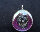 Large Glass Sugar Skull Day of the Dead Cabochon Pendant Necklace