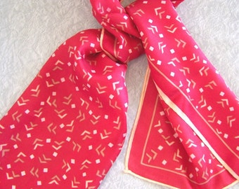 Vintage red scarf with abstract pattern in taupe and cream