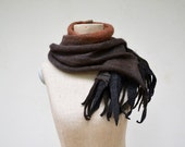 coffee brown fringe long ombre scarf Angora wool felt dread, hand dayed soft wool, delicate transparent openwork unique wearable art - ZOJKAshop