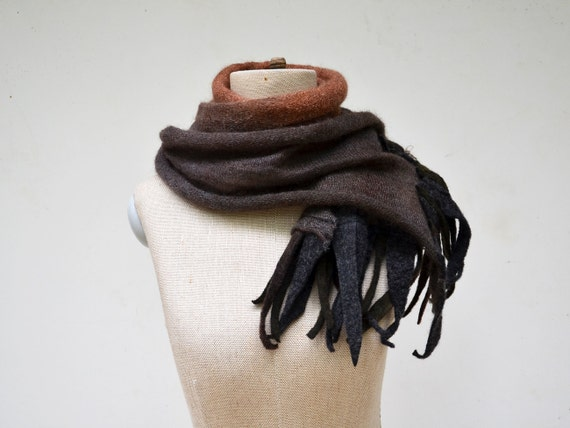brown fringe long ombre scarf angora wool felt dread hand dayed soft