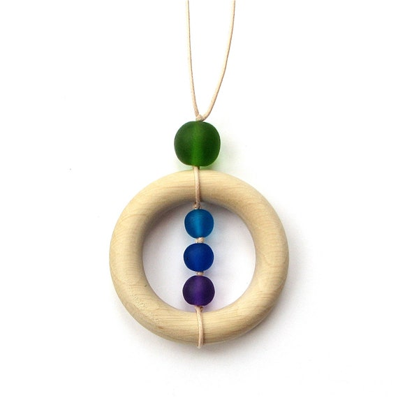 Resin and Wood Teething Nursing Necklace/ Breastfeeding Necklace - Peacock Colors Cobalt Blue, Purple, Green