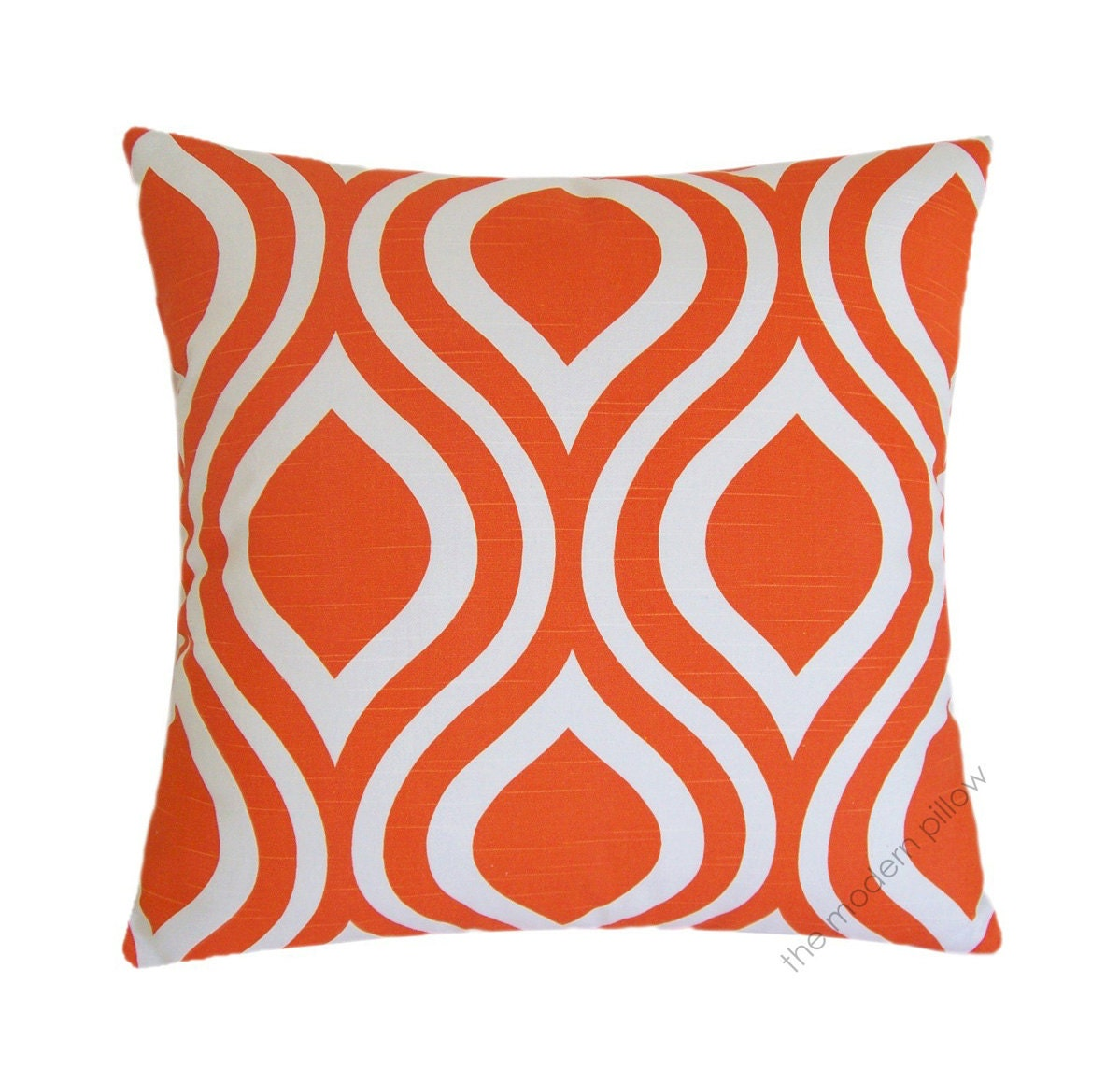 Orange And White Decorative Pillows : Orange and White Thistle Decorative Throw Pillow Cover