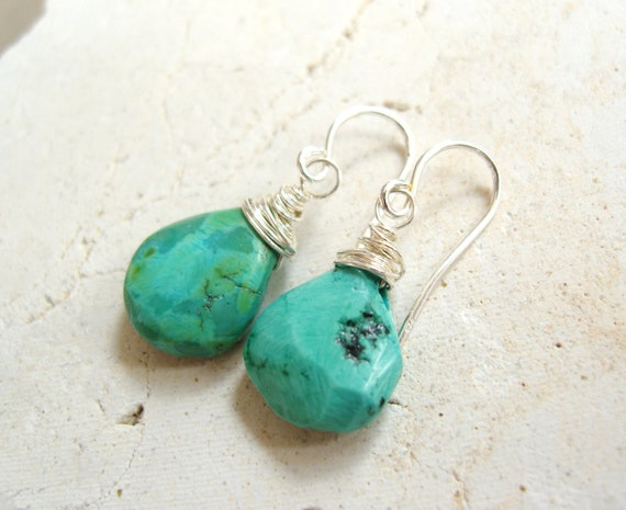 Turquoise Earrings.  Sterling Silver Wire Wrapped Turquoise Briolette Dangle Earrings.  Turquoise Jewelry
