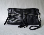 SALE, Black Leather Clutch, Upcycled Leather, Super Soft and Light Clutch with 3 Zipper Pockets, Fringe Tassel, detachable Wrist Strap