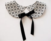 Geometric White Grey Black Handmade Detachable Peter Pan Collar Necklace Satin Ribbon Closure Must Have On Trend Accessory / Col Claudine