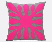 Bright Throw Pillow, Neon Pink Pillow Cover, Decorative Pillow Pink, Neon cushion, Aloha, 18x18, Hawaiian Pillow, Contemporary Pillow