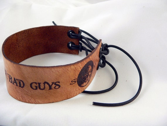 """Firefly/Serenity """"Shiny, Lets be Bad Guys"""" leather  wristband"""