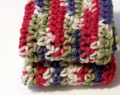 Crochet Dish Cloth Hot Pad Earthly Tones Cotton set of two