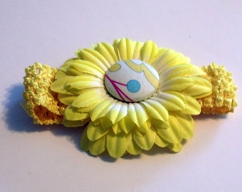 Baby Headband Yellow with Decorative Button