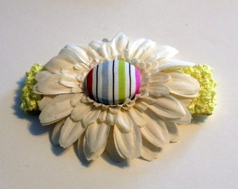 Baby Headband Yellow  Off White Flower with Decorative Covered Button