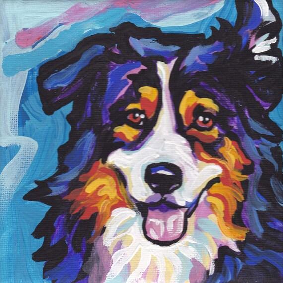 Australian Shepherd art print modern Dog art print tricolor aussie pop dog art bright colors 12x12 inch