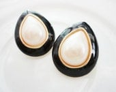 classic vintage pearl drop and enamel gold tone earrings FREE domestic SHIPPING