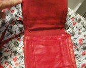 Vintage Red Leather Ladies Purse with Long Adjustable Shoulder Strap ONLY 8 USD