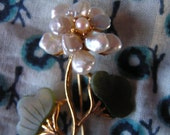 Swoboda Costume Jewelry Flower Brooch, Freshwater Pearls, Seed Pearls, Jade, 70s