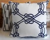 Navy blue embroidered trellis decorative throw pillow
