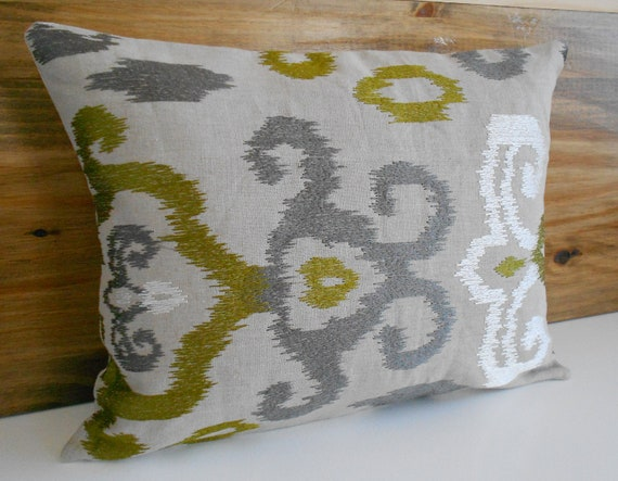 Ikat Decorative Pillow Cover Green And Gray Embroidered