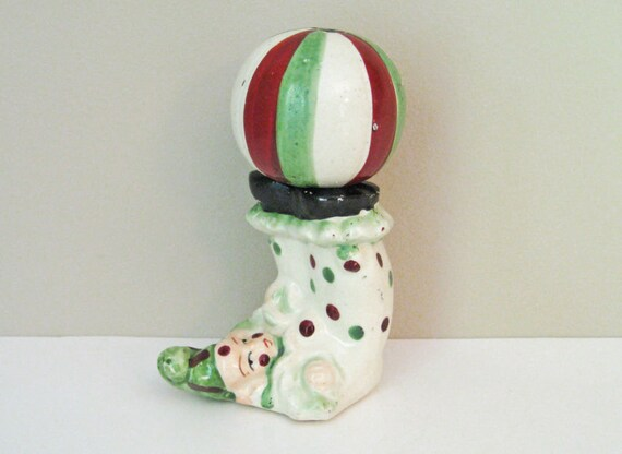 Vintage Clown & Ball Salt and Pepper Shakers - Balancing Act at Circus - Vintage Salt and Pepper Shakers
