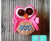 Owl Felt Hair Clip- Pink Baby Hair Clip- Baby Girl Hair Clip with Gripper Toddler Hair Clip