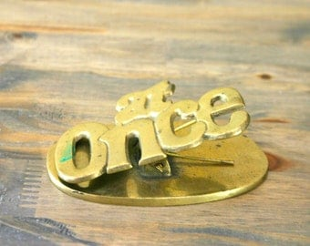 """Vintage Brass """"At Once"""" Oversized Office Paper Clip"""