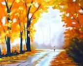 Fall trees autumn leaves original pastel painting