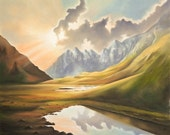 Valley and mountains landscape original pastel painting