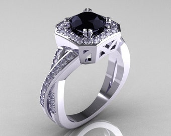 Classic 14K White Gold 1.0 CT Round Black and White Diamond Engagement Ring R189-14KWGDBD