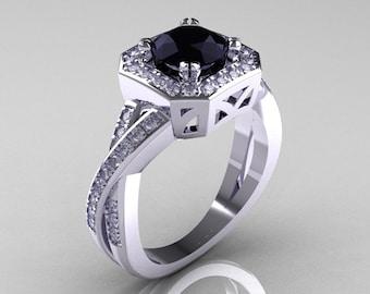 Classic 14K White Gold 1.0 CT Round Black and White Diamond Engagement Ring R189-14KWGDBD