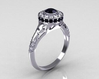 Modern Antique 14K White Gold Black and White Diamond Wedding Ring, Engagement Ring R191-14KWGDBD