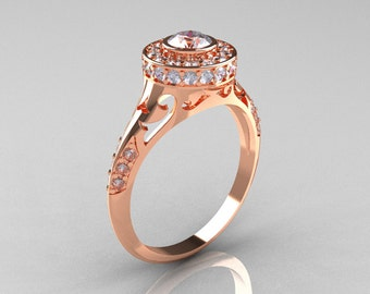 Modern Antique 14K Rose Gold Cubic Zirconia Diamond Wedding Ring, Engagement Ring R191-14KRGDCZ