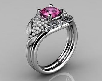 Nature Inspired 14K White Gold 1.0 CT Pink Sapphire Diamond Grape, Vine and Leaf Engagement Ring Set NN118SS-14KWGDPS