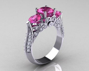 Classic 10K White Gold Three Stone Diamond Pink Sapphire Solitaire Ring R200-10KWGDPS