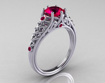 Classic French 10K White Gold 1.0 Carat Ruby Lace Ring R175-10WGR
