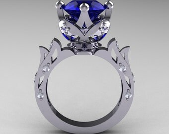 Modern Antique 14K White Gold 3.0 Carat Blue Sapphire Diamond Solitaire Wedding Ring R214-14KWGDBS