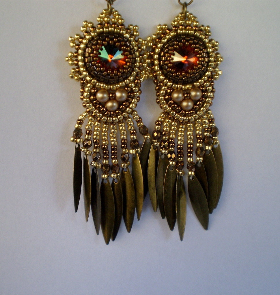 Embroidered Beads: RESERVED Sharayah Bead Embroidery Earring Seed Bead Jewelry