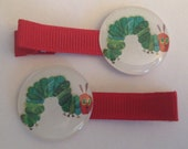 2 Boutique Girl Hair Clips The Very Hungry Caterpillar Red
