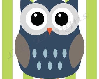 Green, Blue and Brown Owl Nursery Decor, Woodland Nursery Print - 8x10