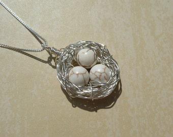 Birds Nest Necklace - 3 Eggs & Chain - Argentium Sterling Silver Pendant