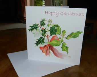 Christmas Card - 6 x 6 ins (15 x 15 cm) - Holly and Ivy