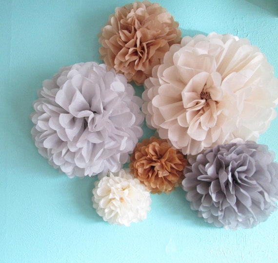 6 Tissue Paper Poms  in Silver Sand
