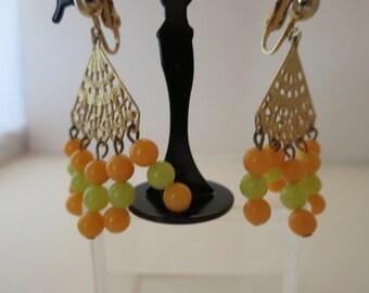 Earrings , Art Deco , Bakelite, Green, Orange