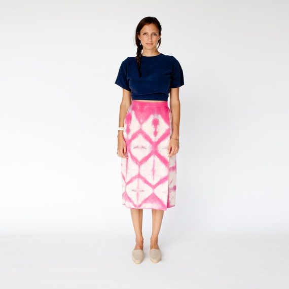 Hand dyed geometric silk skirt small